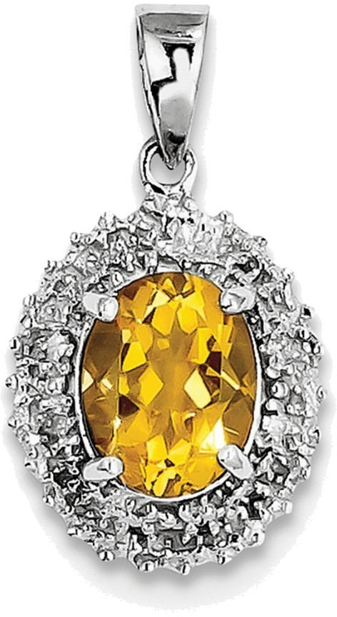 Sterling Silver Rhodium Citrine & Diamond Pendant QDX738