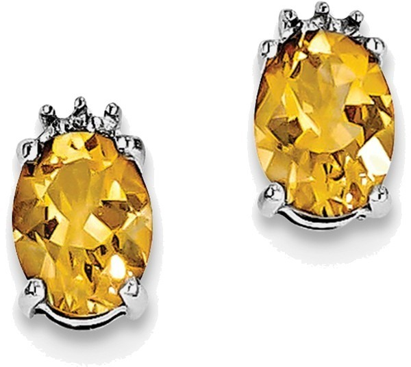 Sterling Silver Rhodium Oval Citrine & Diamond Post Earrings QDX754