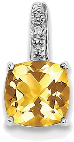 Sterling Silver Rhodium Citrine & Diamond Pendant QDX787