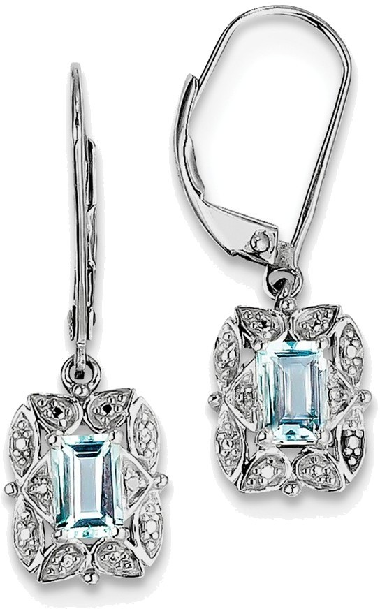 Sterling Silver Rhodium-plated Diamond & Octagon Light Blue Topaz Earrings