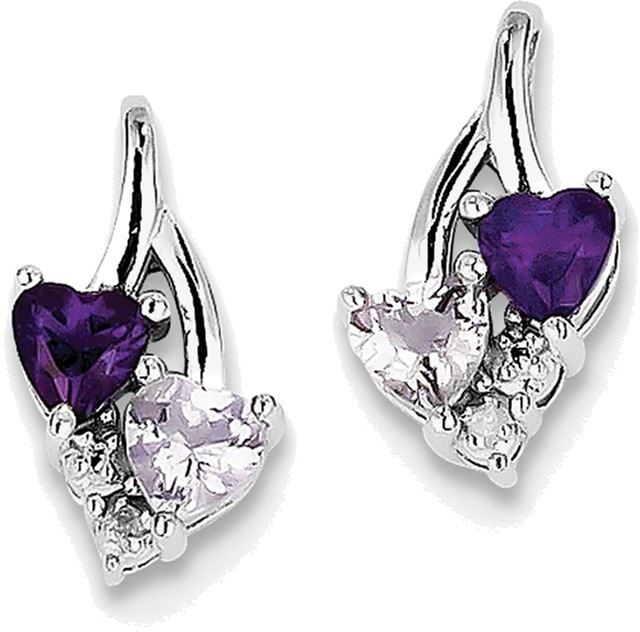 Sterling Silver Rhodium-plated Heart Amethyst & Pink Quartz & Diamond Earrings