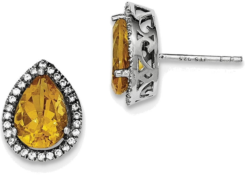 Sterling Silver Rhodium Polished Citrine & CZ Post Earrings
