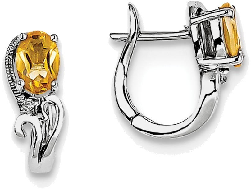 Sterling Silver Rhodium Plated Diamond Citrine Hinged Earrings