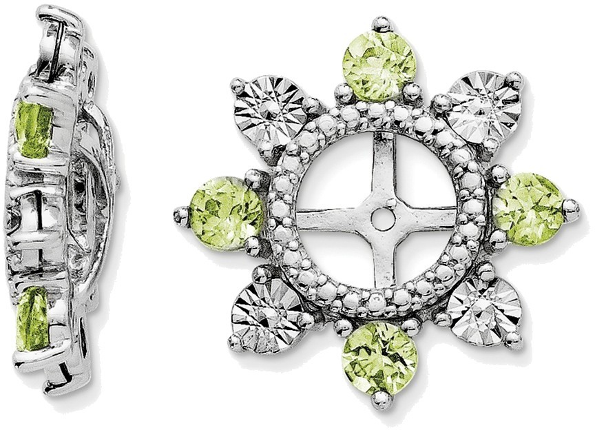 Sterling Silver Rhodium Peridot Earring Jackets QJ110AUG