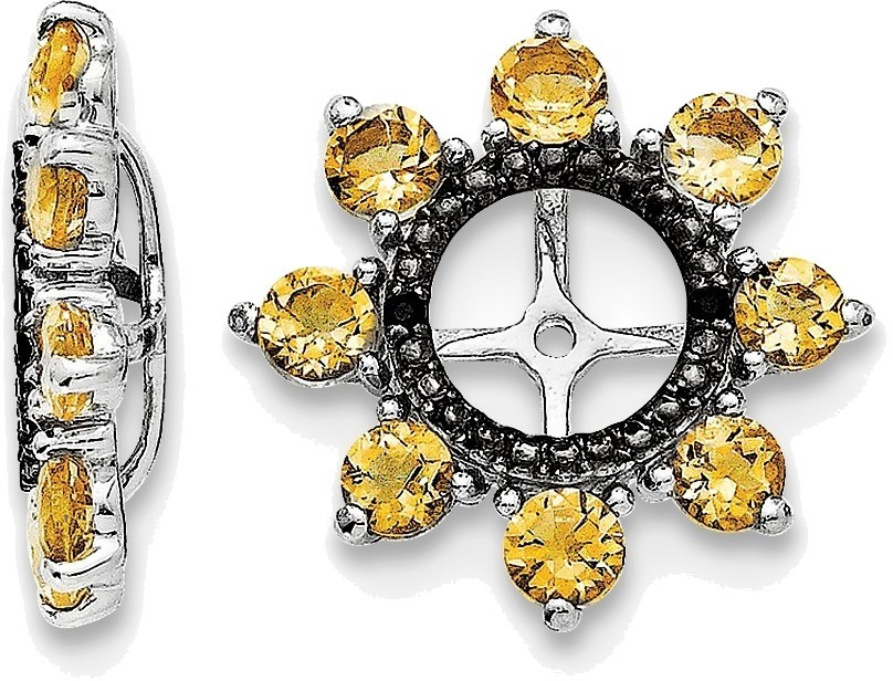 Sterling Silver Rhodium Citrine & Black Sapphire Earring Jackets QJ114NOV