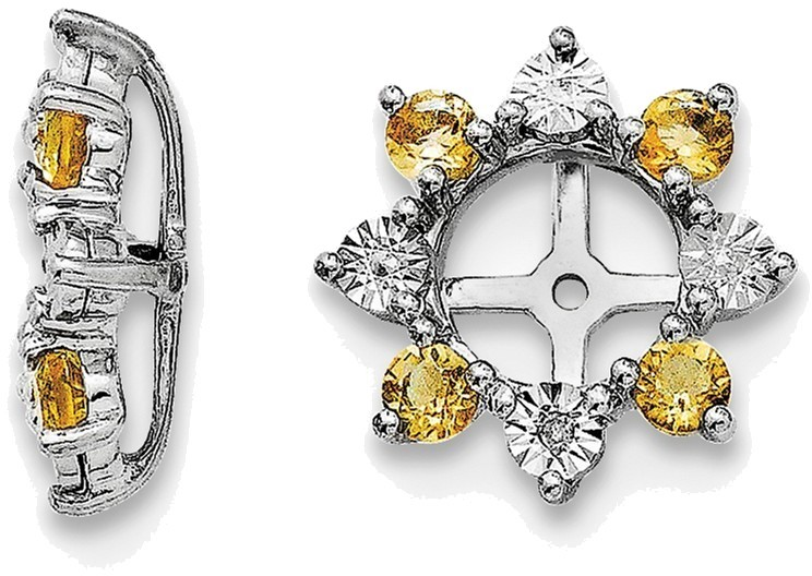 Sterling Silver Rhodium Diamond & Citrine Earring Jackets QJ115NOV