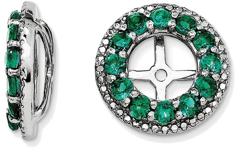 Sterling Silver Rhodium Diamond Created Emerald Earring Jackets Qj123may