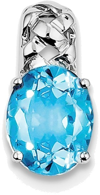 Sterling Silver Rhodium-plated Blue Topaz Pendant QP2934BT