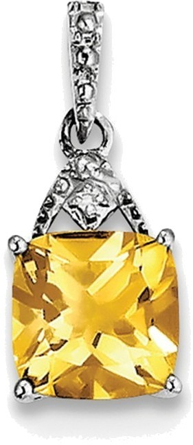 Sterling Silver Rhodium Plated Diamond Citrine Cushion Pendant