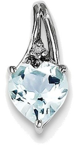 Sterling Silver Rhodium Plated Diamond & Aquamarine Heart Pendant