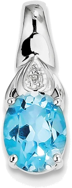 Sterling Silver Rhodium-plated Diamond and Blue Topaz Pendant QP3006BT