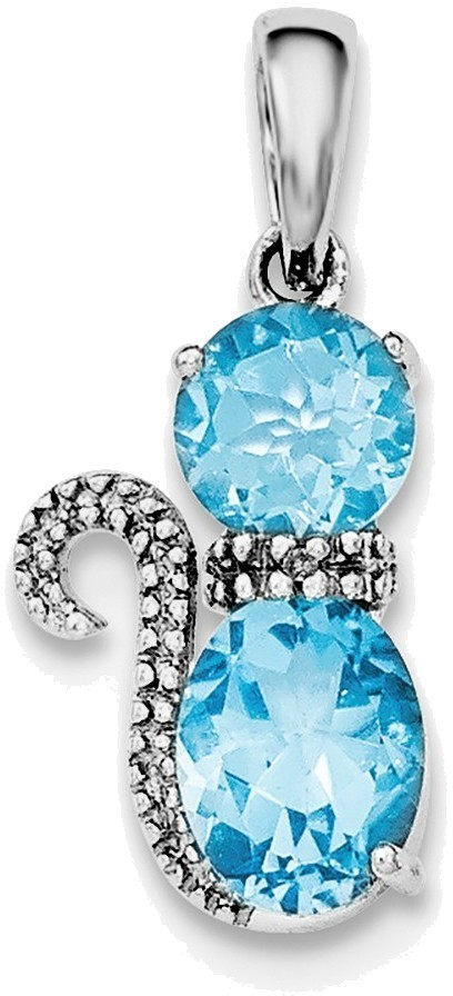 Sterling Silver Rhodium-plated Blue Topaz and Diamond Cat Pendant