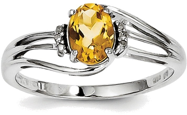 Sterling Silver Rhodium Plated Citrine and Diamond Oval Ring
