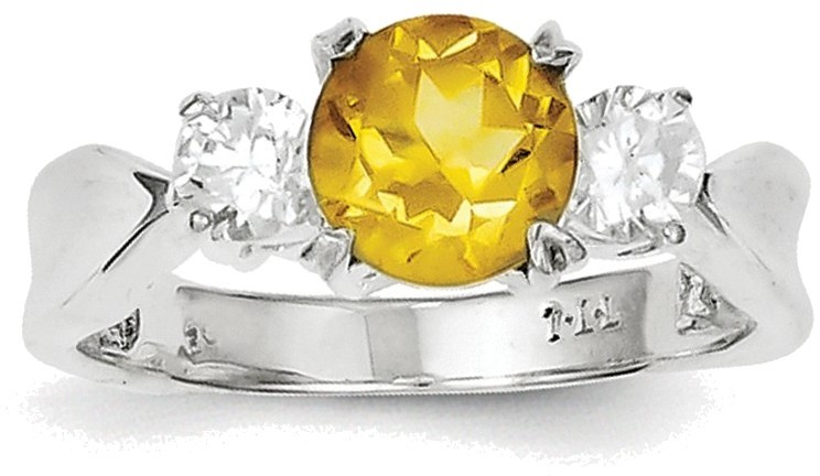 Sterling Silver Rhodium Plated Round Citrine ring