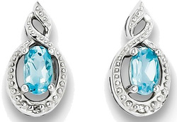 Sterling Silver Rhodium-plate Oval Light Swiss Blue Topaz & Diamond Earrings