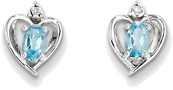 Sterling Silver Rhodium-plated Oval Light Swiss Blue Topaz & Diamond Earrings