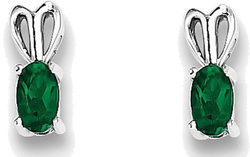 Sterling Silver Rhodium-plated Oval Created Emerald Earrings