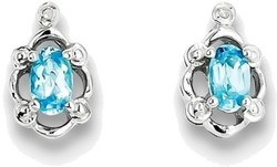 Sterling Silver Rhodium-plated Light Swiss Blue Topaz & Diamond Earrings