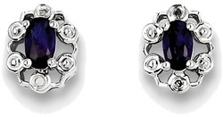 Sterling Silver Rhodium-plated Oval Created Sapphire & Diamond Earrings QBE22SEP