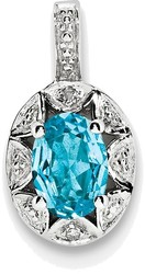 Sterling Silver Rhodium-plated Diamond & Blue Topaz Pendant QBPD10DEC