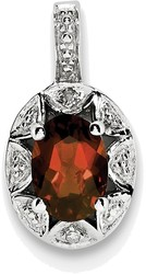 Sterling Silver Rhodium-plated Diamond & Garnet Pendant QBPD10JAN