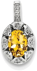 Sterling Silver Rhodium-plated Diamond & Citrine Pendant QBPD10NOV