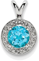 Sterling Silver Rhodium-plated Diamond & Blue Topaz Pendant QBPD11DEC
