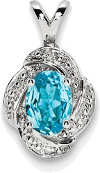 Sterling Silver Rhodium-plated Diamond & Blue Topaz Pendant QBPD12DEC