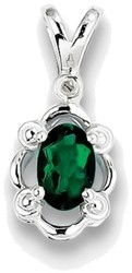 Sterling Silver Rhodium-plated Created Emerald & Diamond Pendant QBPD21MAY