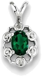 Sterling Silver Rhodium-plated Created Emerald & Diamond Pendant QBPD22MAY
