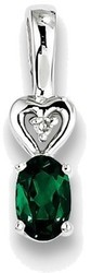 Sterling Silver Rhodium-plated Created Emerald & Diamond Pendant QBPD23MAY