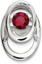 Sterling Silver Rhodium Created Ruby Birthstone Vibrant Pendant