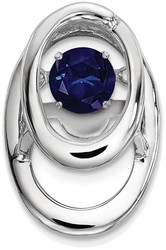 Sterling Silver Rhodium Created Blue Sapphire Birthstone Vibrant Pendant