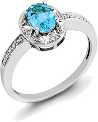 Sterling Silver Rhodium-plated Oval Blue Topaz & Diamond Accents Ring