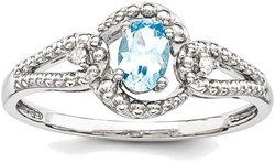 Sterling Silver Rhodium-plated Light Swiss Blue Topaz & Diamond Cutout Ring