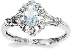 Sterling Silver Rhodium-plated Aquamarine & Diamond Round Cutout Ring