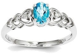 Sterling Silver Rhodium-plated Light Swiss Blue Topaz & Diamond Ring