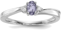 Sterling Silver Rhodium-plated Created Alexandrite Birthstone Ring