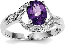 Sterling Silver Rhodium Oval Amethyst w/ Diamond Accents Swirl Cutout Ring