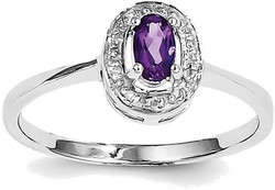 Sterling Silver Rhodium Framed Oval Amethyst & Diamond Ring