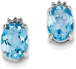 Sterling Silver Rhodium Oval Swiss Blue Topaz & Diamond Post Earrings