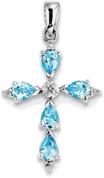 Sterling Silver Rhodium Pear Swiss Blue Topaz Cross Pendant