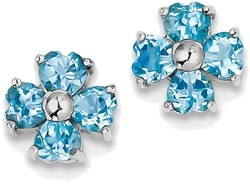 Sterling Silver Rhodium Swiss Heart Blue Topaz Flower Post Earrings