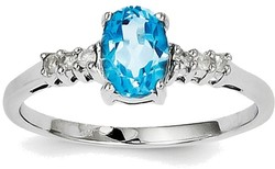 Sterling Silver Rhodium Oval Light Swiss Blue Topaz & Diamond Ring