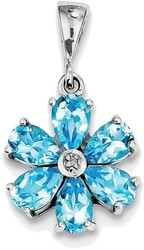 Sterling Silver Rhodium Light Swiss Blue Topaz & Diamond Flower Pendant