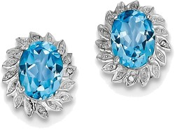 Sterling Silver Rhodium Oval Light Swiss Blue Topaz & Diamond Post Earrings