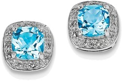 Sterling Silver Rhodium Cushion Light Swiss Blue Topaz & Diamond Post Earrings