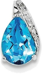 Sterling Silver Rhodium Pear Swiss Blue Topaz Pendant