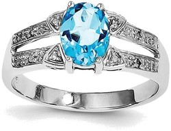 Sterling Silver Rhodium Light Swiss Blue Topaz & Diamond Cutout Center Ring