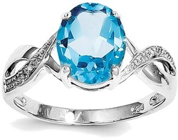 Sterling Silver Rhodium Oval Light Swiss Blue Topaz & Diamond Twist Ring